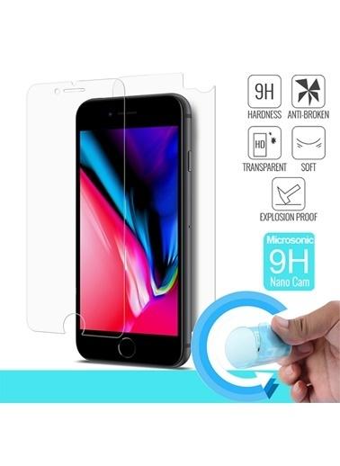 Microsonic iPhone 8 Ön + Arka Nano Cam Ekran Koruyucu Kırılmaz Film Renksiz